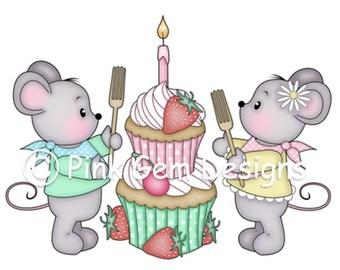 Digi Stamp Birthday Cake Mice - Birthday, Mouse, Birthday, Mothers Day, Party Invitations etc