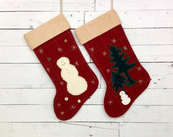 Personalized Christmas Stockings, Family Christmas Stockings,Rustic Christmas Stocking,Cabin Stocking, Snowman Stocking,Christmas Decoration