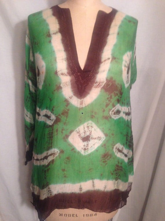 Vintage Green and Brown Tie Dye Long Sleeve Hippie Shirt s34