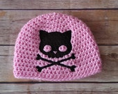 Punk Kitty Baby Hat - Skull Baby Clothes - Punk Baby Clothes - Goth Baby Clothes - Baby Girl Punk Clothes - Rockabilly Baby Clothes