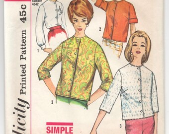 "1960's Simplicity Blouse Pattern - Bust 34"" - No. 4464"