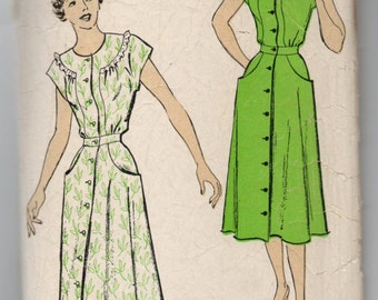 """1940's New York One-Piece Button-Up Day Dress Pattern - Bust 38"""" - No. 839"""