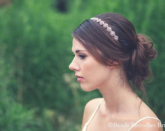 Rose Gold Headband, Rose Gold Wedding Headband,Rose Gold Bridal Headband,Swarovski Crystal Headpiece,Rhinestone Pearl Rose Gold Headpiece