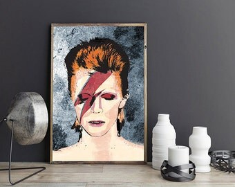 David Bowie Print, David Bowie Poster, David Bowie Art Print, David Bowie Illustration, Ziggy Stardust, Aladdin Sane 1973, Music Poster
