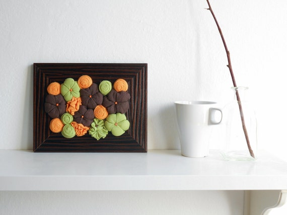 Framed home decoration Fabric flowers art 3D design ornament - Brown orange green - OOAK durable bouquet - ready to ship