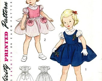 Simplicity 3805 Vintage 50s Sassy Toddler Girls Party Dress with Puff Sleeves and Ribboned Patch Pockets Sewing Pattern Size 2