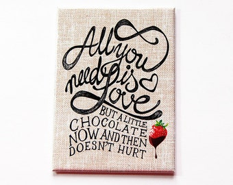 Chocolate Magnet, Loves Chocolate, Kitchen magnet, Fridge magnet, ACEO, magnet, Refrigerator magnet, Love, All you need (5378)