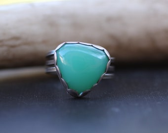 Chrysoprase Ring in Sterling Silver, Size 7 ring