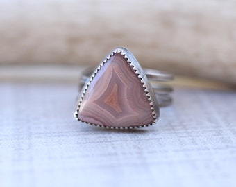 Laguna Lace Agate Ring in Sterling Silver, Size 8.5 Ring