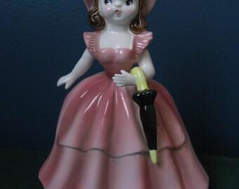 Pink Lady Midcentury Planter - Napco A 1880B Ceramic Figure Vase - Cottage Chic Decor