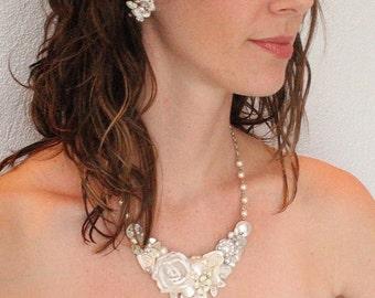 Vintage Inspired Bridal Necklace- Ivory Wedding Statement Necklace- Floral Statement Necklace- Ivory Wedding Necklace- Shimmer no sparkle