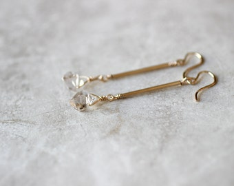 Herkimer Diamond Drop Earrings, Gold Bar Earrings