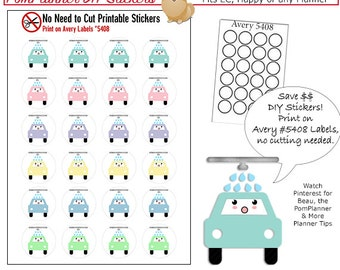 2.00 SALE! Kawaii Car Wash  Printable Planner Stickers, Print On Avery Label 5408 or .75 Punch. No-Cut-Needed