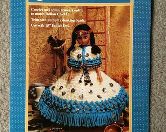 Indian Princess II Crochet Pattern, Indian Princess Dress with beads for 15 inch doll by Fibre Craft FCM355