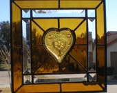 Amber Stained Glass Panel with Collectible Heart-Shaped Dish