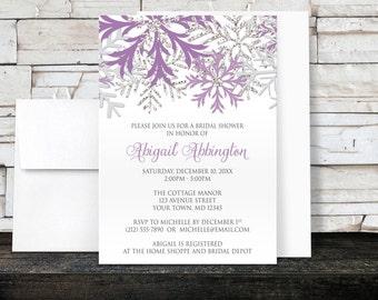 Winter Bridal Shower Invitations - Purple Silver Snowflake design on White - Printed Invitations