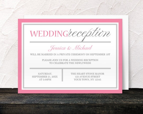 pink reception only invitations - modern pink and gray design, Wedding invitations