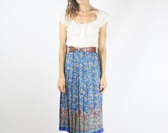 Paisley Vintage Skirt, 80s Boho skirt Blue Red Pleated High waist Midi skirt, Medium Large