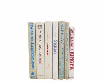 Beige Decorative Books, White Books, Old Books, BLue Book Set,  Wedding Centerpiece, Book Collection, Bookdecor colorful titles
