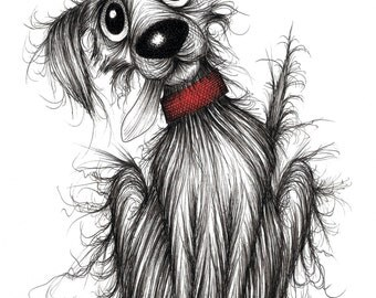 Rags the dog Print A4 size picture Quite scruffy hound doggie pooch mutt with slobbery sticky out tongue wearing red collar Animal drawing