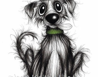 Mr Bark Print A4 size picture Funny looking pet dog pooch who barks a lot Wearing striped hat and collar Sticking tongue out Animal fan gift