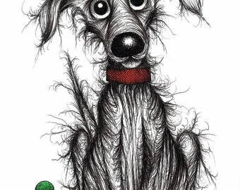 Hello Stinker Print A4 size picture Strange looking scruffy smelly stinky pet dog pooch who needs a bath Ink drawing sketch printed on paper