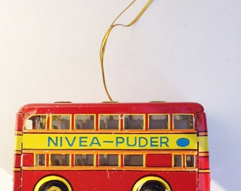 Red German Double Decker Bus Vintage Lithographed Tin Toy Ornament by Schylling 1995 NIB German Made Tin Christmas Ornament  NOS