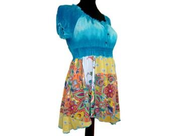 Asymmetric Top, Upcycled Clothing, Teal Asymmetric Tunic, OOAK Hippie Top, Womens Summer Tunic, Colorblock Summer Top, Boho Tunic, Beachwear