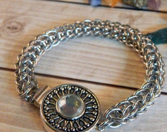 Full Persian Chainmaille Bracelet with Focal Clasp
