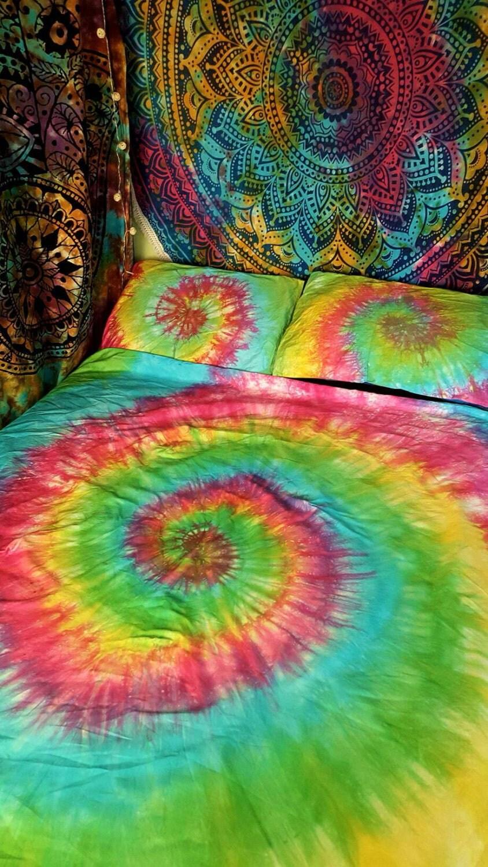 Tie Dye Duvet Set Hippie Bedding Rainbow Bedding