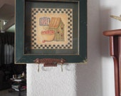 Vintage shadow box with HOME SWEET HOME picture by artist Jo Moulton upcycled Keyholder