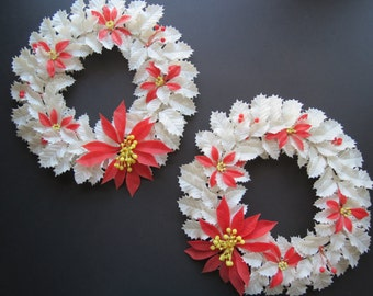 Vintage White Christmas Wreaths // Pair of Mid Century Retro Plastic Leaves Red Poinsettia Flowers Holiday Door Decorations 1960's 1970's