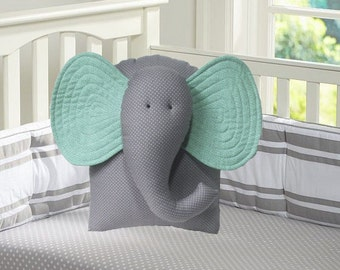 elephant pillow, mint green and gray nursery, baby shower gift, unisex nursery decor, animal pillow, by Whimsysweetwhimsy