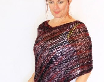 Purple black poncho, wrap poncho, sweater poncho, handknit poncho, Eudora, poncho knitwear, loose knit poncho, made to order