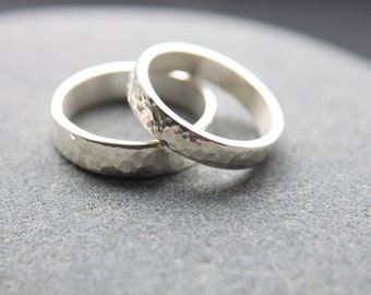 Hammer-textured 4mm + 5mm wedding rings in tarnish resistant Argentium silver - made to order