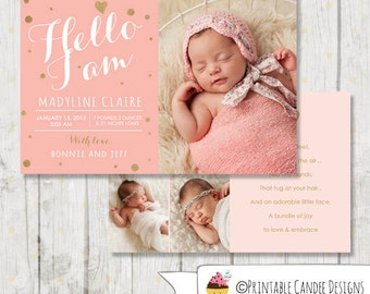 Pink and Gold Birth Announcement - Pink and Gold printable Baby Announcement - Girl Baby Announcement -  Pink and Gold - DIY Printable