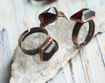 Red garnet ring, Copper ring, Bridesmaids accessories, Adjustable ring, Talisman ring, Rustic copper ring, Electroformed jewellery