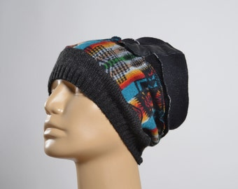 Tribal Wool Hat - Repurposed Wool Hat - Blanket Hat - Winter Hats - Warm Hats - Native American Inspired