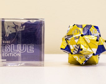 Red Bull Yellow Edition with Blue Origami Ornament.  Upcycled Recycled Repurposed Can Art.