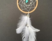 Dream Catcher for Car Mirror - Brown, White, and Turquoise Stone