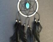 Gray Black Turquoise Stone Dream Catcher, Car Mirror Dreamcatcher, Dreamcatcher to hang in your car!