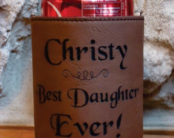 Personalized Leatherette Can Cooler, Custom Leatherette Can Cooler, Beer Hugger, Groomsman Gift, Birthday Gift, Anniversary Gift
