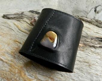 Leather Cuff with Mookaite Jasper Black Recycled Leather Cuff Black Leather Wristband Large Leather Cuff with Australian Gemstone