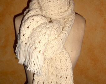 Hand Made Warm And Beautiful Ecru Vintage Winter White  Crochet Boho Shawl/Scarf