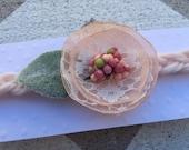 Pink flower tieback headband ~Tieback headband~Headband ~Photography prop ~ Photo prop ~ Organic prop ~ Prop