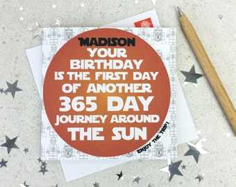 Star Wars Birthday Card Journey Around The Sun - personalised card - geek birthday card - astronomy gifts - c3po - r2d2 - personalized card
