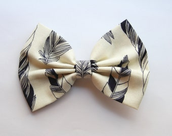 SALE - LAST ONE - Heather Hair Bow - Cream and Black Feather Print Hair Bow with Clip