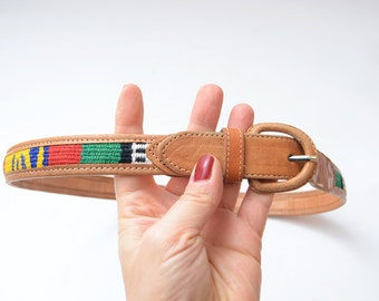 Vintage leather camel brown women waist belt with ethno woven details