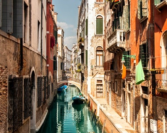 Travel Venice decor, Italy wall art, Venice fine art photography, Venezia water canals and houses photo to frame, streets of Venice