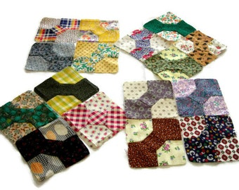 """Miniature Bowtie Quilt Blocks, Multicolor (III) Blocks Hand-Pieced From 20th Century Fabric, Finished Size 3 3/4"""" (9.5cm), Free US Shipping"""